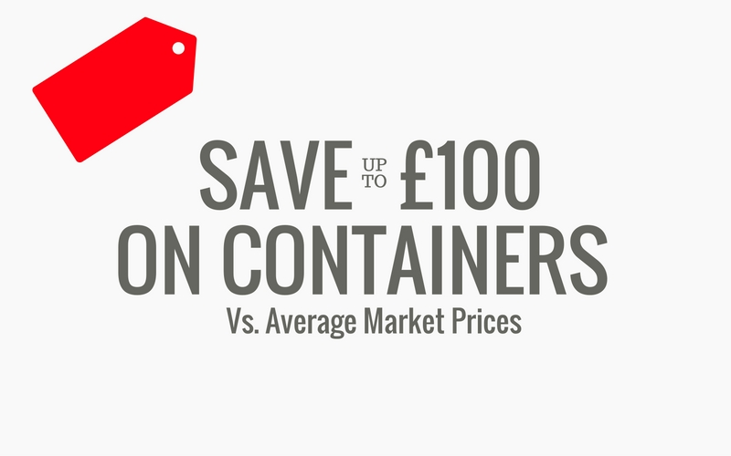 save upto £100 on buying a 20ft container
